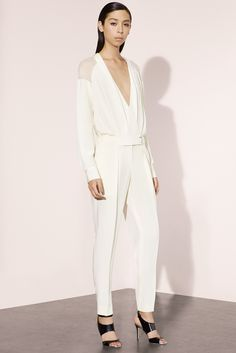 Prabal Gurung Resort 2016 Magnolia silk crepe jumpsuit with chiffon insert shoulder detail and Marguerite sandal