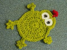 Frog Croaster - crocheted coaster