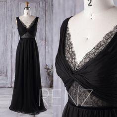 2016 Black Chiffon Bridesmaid Dress Long, V Neck Lace Wedding Dress, V Back Prom Dress, Women Formal Dress Floor Length (L135)