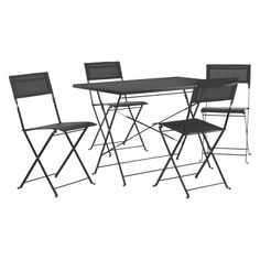 GRANGE 4 seat black metal folding garden table and chairs set
