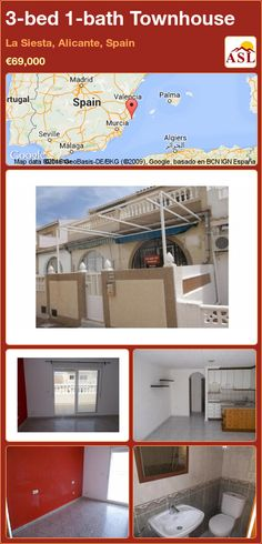Townhouse for Sale in La Siesta, Alicante, Spain with 3 bedrooms, 1 bathroom - A Spanish Life Alicante Spain, Private Garden, Murcia, Malaga, Second Floor, Dining Area, Townhouse, Terrace, Flooring