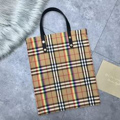 Burberry Small Shopping Tote in Rainbow Vintage Canvas and Black Leather 2018