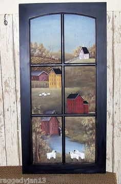 Window hand painted primitive folk art saltbox farm scene home decor rjpe Primitive Painting, Primitive Folk Art, Primitive Crafts, Tole Painting, Country Primitive, Painted Window Panes, Window Art, Arte Country, Pintura Country