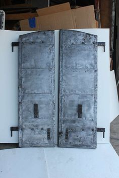 Shop antique and modern doors and gates and other building and garden elements from the world's best furniture dealers. Metal Shutters, Vintage Doors, Door Gate, Modern Door, Industrial Metal, Cool Furniture, Locker Storage, Commercial, Antiques