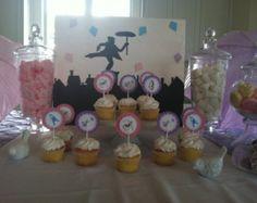 Mary Poppins Jolly Holiday Birthday Party Cupcake Toppers: Jolly Holiday Cupcake Flags set of 12 by Belleza e Luce