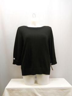 Karen Scott Black 3/4 Sleeves Boat Neck Medium Knit Career Sweater Size 1X 2X #KarenScott #BoatNeck