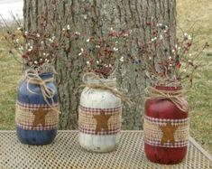 Americana Jars-Patriotic Jars-Painted by HootOwlMeshCreations