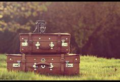 vintage suitcases and camera via Paris Wood, flickr.
