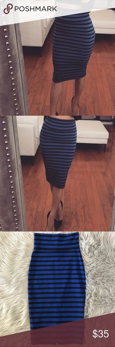 "BEBE Blue and Black Striped Knit Midi Skirt Gorgeous stripped skirt with a slim silhouette, back hem slit, and wide waistbandVery Comfortable  Great Condition  ✅Size: XS ✅Material: 88% nylon 12% spandex ✅Model: 5'6"" Height/34 Bust/ 27""Waist/ 33"" Hips ✅Fit: True to size bebe Skirts Midi"