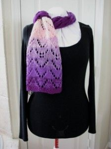 Free Ravelry download. Lace and spit scarf. Learn spit-splicing to create a colorful lace scarf with limited ends to weave in.