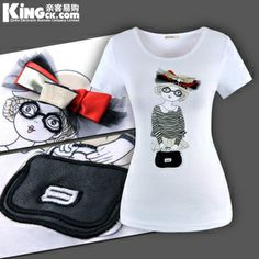 New arrival free shipping ! 2013 New fashion beading bag girl women's short sleeve T shirts Size S-3XL $13.99