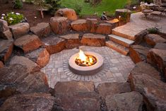 Fire Pit Ideas Backyard Landscaping - Try turning off your TV and stashing the remote for a better family time. Go to your backyard and sit around the fire pit to maintain a conversation, instead. Sunken Fire Pits, Fire Pit Bbq, Fire Pit Area, Diy Fire Pit, Fire Pit Backyard, Backyard Kitchen, Sunken Patio, Fire Pit Off Patio, Patio Ideas With Fire Pit