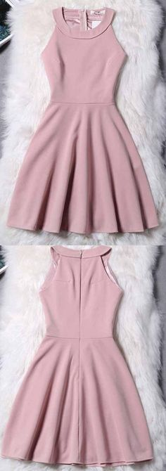 Pink Homecoming Dress, Short Evening Dress, Simple Halter Zipper Mini Homecoming Dress, Sexy Party Dress 244 - How To Be Trendy Mini Prom Dresses, Hoco Dresses, Trendy Dresses, Simple Dresses, Dance Dresses, Sexy Dresses, Cute Dresses, Casual Dresses, Fashion Dresses