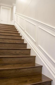 Hamptons Style Staircase using Intrim Group Skirting & Architraves, Inlay Moulds and Custom Chair Rails EclecticandRusticHomeDecor is part of Stairs skirting - Stair Paneling, Wainscoting Stairs, Wood Stairs, House Stairs, Panelling, Dado Rail Hallway, Hamptons Style Homes, The Hamptons, Stairs Skirting
