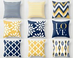 Throw Pillow Cover designs navy, yellow, and white designed by HLB Home Designs. Individually cut and sewn, features a 2 sided print and is finished with a zipper for ease of care. SIZES: 16in. X 16in. 18in. X 18in. 20in. X 20in. 26in. X 26in. (euro) 14in. X 20in. (lumbar)   IMPORTANT: These are COVERS ONLY! You can cover your existing pillows or purchase inserts online or at any local craft store.   FABRIC: Spun Poly Poplin. Medium weight high quality fabric that is durable and slightly…