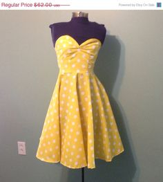 ON SALE Womens Yellow and White Polka Dot Dress by offbeatvintage, $55.80