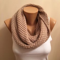 A personal favorite from my Etsy shop https://www.etsy.com/listing/260166875/cream-infinity-knit-loop-scarfcowl-scarf