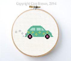 Volkswagen Bug Car Cross Stitch Pattern Instant Download Easy needlepoint cute  VW Beetle