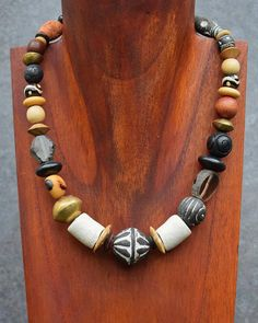 statement necklace short leather necklace Ethnic necklace for women primitive jewelry large bead necklace unusual jewelry