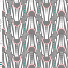 Art Deco Rings Miami Dark fabric by zesti on Spoonflower - custom fabric