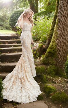 Alexandra's Boutique Fall River, MA --859 Nude Lace Strapless Wedding Dress by Martina Liana