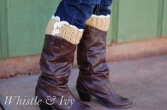 Free Crochet Pattern - Lacy Boot Cuffs. These boots cuffs are cute and feminine! Adorable with any boots. {Pattern by Whistle and Ivy}