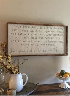 WALL DECOR-love grows best in little houses by kspeddler on Etsy Hd House, Tiny House, Farm House, Do It Yourself Design, Diy Casa, Boho Home, Reno, My Living Room, Tiny Living