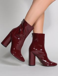 Shoes Impact Round Block Heel Ankle Boots in Burgundy Patent Don't Forget Bedroom Decorating Article Black Suede Chelsea Boots, Black Leather Shoes, Black Boots, Burgundy Ankle Boots, Patent Leather Boots, Boots For Short Women, Short Boots, Block Heel Ankle Boots, High Heel Boots