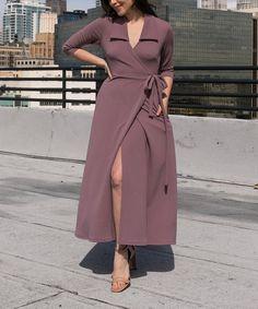 cfa70e9f46c14 Nema Avenue Plum Three-Quarter Sleeve Pocket Wrap Dress - Women & Plus |  Zulily