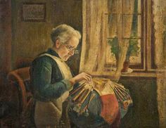 """"""" The Lacemaker"""" (Mrs Newell Making Lace) -by Charles Spencelayh c.1920  Location- The Higgins Art Gallery & Museum, Bedford UK"""