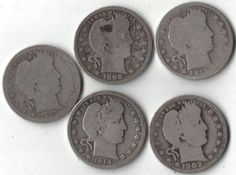 Barber Quarters lot of 5 silver coins No reserve Free shipping