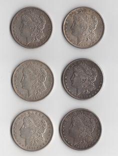 Morgan Silver Dollar Lot of six by monetcourt on Etsy, $205.00