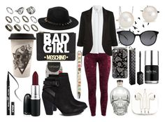 """""""Bad GIRL."""" by alejandramalagon ❤ liked on Polyvore featuring H&M, Junk Food Clothing, Uniqlo, Moschino, MAC Cosmetics, ALDO, P.J. Salvage, Kat Von D, ASOS and Blue Nile"""