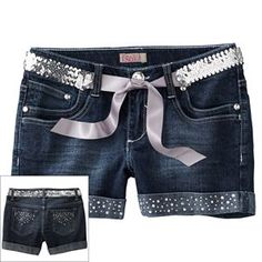 SO Rhinestone Belted Denim Shorts - Girls 12 @ khols sale $16.99