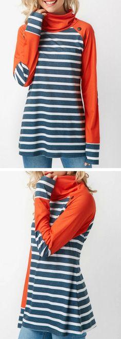 Stripe Print Long Sleeve Elbow Patch T Shirt