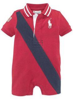 NWT Ralph Lauren Baby Boys Banner Striped Cotton Shortall Romper Size 24 Months #RalphLauren #Everyday