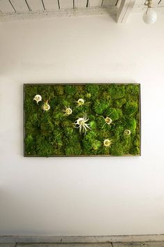 This vibrant moss art lightens and brightens up any room! What a beautiful focal piece. Best of all, the 100% naturally preserved moss looks and feels alive, but it requires NO CARE at all! Have the looks of a vertical garden with out any maintenance; just hang and enjoy! Find this piece and many others, or create your own custom moss artwork at www.KelleyandCricket.com/mossart.com. Moss Wall Art, Moss Art, Diy Wall Art, Plant Wall Diy, Moss Graffiti, How To Preserve Flowers, Nature Decor, Pergola, Cactus