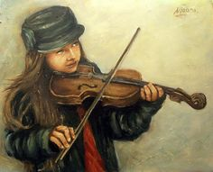 Girl And Her Violin Painting  - Girl And Her Violin Fine Art Print ADORÉEEE