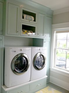 Raised washer and dryer.