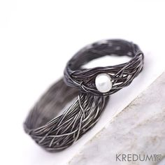 Pearl Engagement and Wedding Ring Women ring Coiled by KREDUM, $95.00