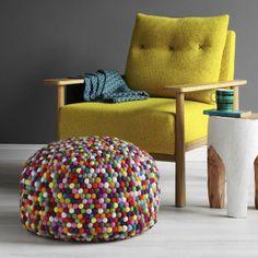 Beautiful chair & Felt Ball Freckle Ottoman