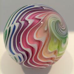 "Huge 2-7/8"" Mark Matthews Lobed Rainbow Art Glass Marble #Glass"