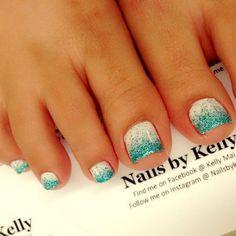Sea Blue Glitters on White Background Toe Nails.