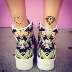 Diamond & Heart Temporary Tattoo (Set of 2)