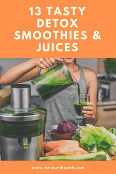 Are you feeling fatigued, sluggish, bloated, or having trouble losing weight? Here are 13 Unbelievably Tasty Juice and Smoothie Detox Recipes to help reboot your body. Healthy Diet Tips, Healthy Eating Recipes, Healthy Snacks, Paleo Diet, Healthy Drinks, Vegan Recipes, Detox Juice Recipes, Detox Drinks, Smoothie Recipes
