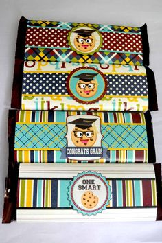Smart Cookie Graduation Printable Candy Bar wrappers. These are great, there is one for graduation, one just for being a smart cookie and 2 just general smart cookie designs. These could be used for graduation or just the last day of school!