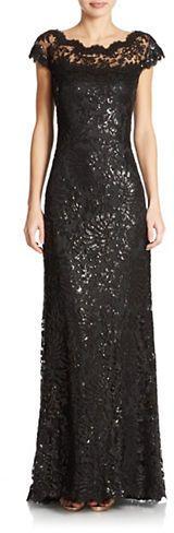Tadashi Shoji Sequined Lace Gown on shopstyle.com