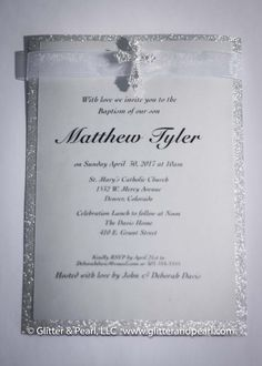 Baptism, Christening, First Holy Communion, or Confirmation custom invitations for boy or girl by Glitter & Pearl.  Custom colors available.
