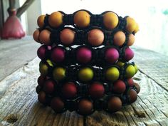 Macrame Beaded Bracelet Soft Rubber Coating by ShamballaStyle, $8.99