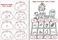 Mystery na trgu: igra o denarju v CP French Teaching Resources, Teaching French, Euro, Math 5, Math Addition, Reading Material, Scrapbook Albums, Math Lessons, Math Centers